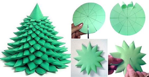 Из зеленой бумаги вырезается