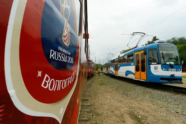 ВВолгограде вышел налинию 1-ый трамвай ссимволикойЧМ